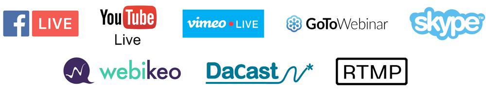 Plateformes de streaming, webinaire et réseaux sociaux Facebook Live, Youtube Live, Vimeo Live, GotoWebinar, Skype, Webikeo, DaCast, RTMP